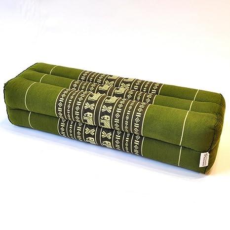 Cojín, almohada cojín tailandés, Verde, elefantes, largo ...