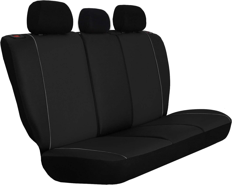 Juego de 3 fundas para asientos de coche universales de piel sint/ética con airbag 1 1 asiento delantero y 1 asiento trasero divisible 2 cremalleras para asientos delanteros y traseros