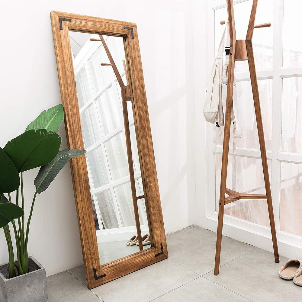Amazon.com: Rustic Wood Framed Floor Mirror, Large ...