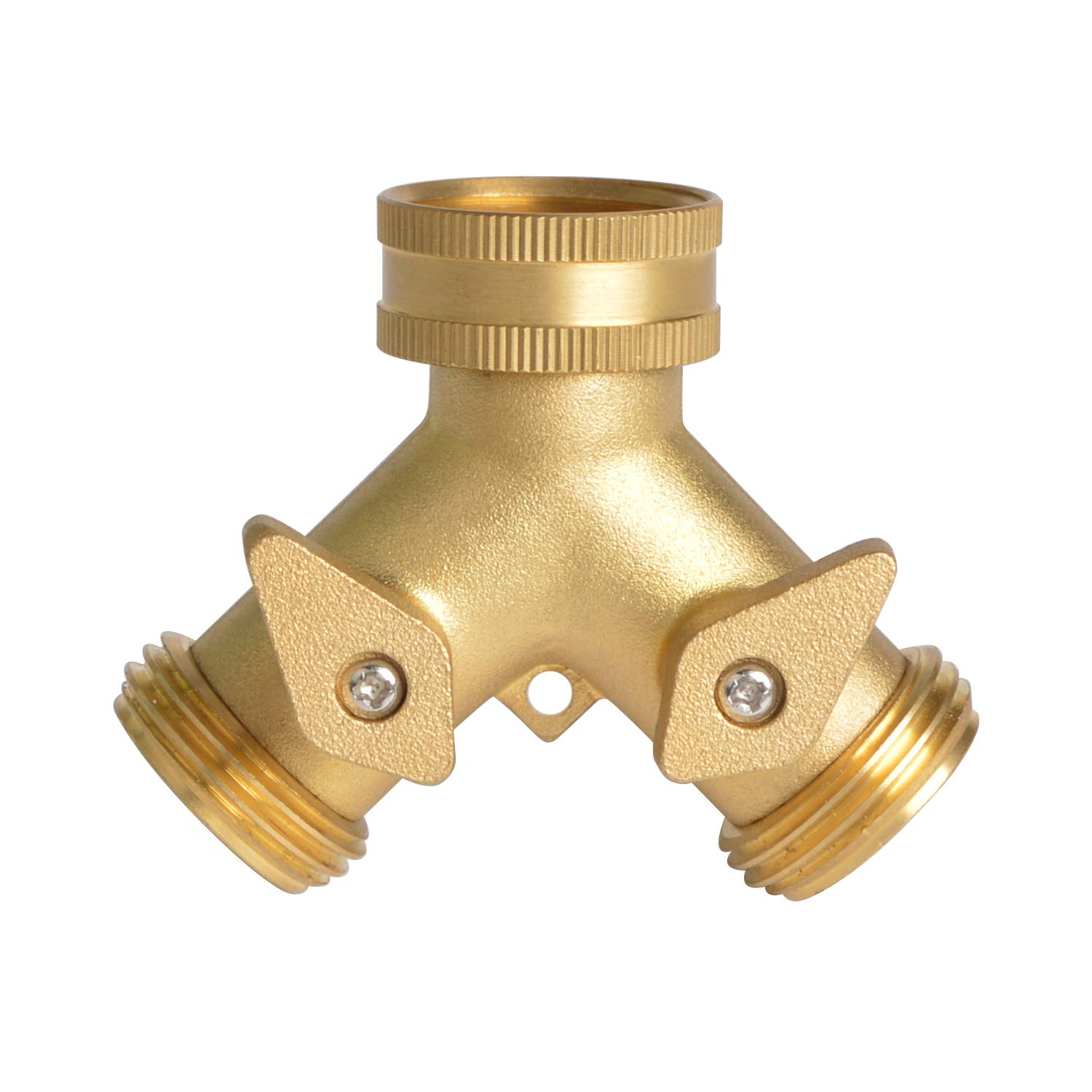 HYDRO MASTER 0710401L 2 Way Garden Hose Splitter, Hose Connector, Heady Duty Solid Brass Shut Off Valve