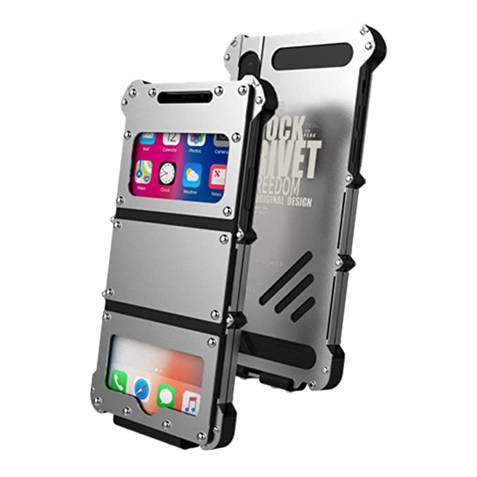 low priced 73f57 021bb iPhone X Case, Rivet Cowboys Style R-JUST Stainless Steel Metal Flip  Protecive Cover Cases for Apple iPhone X With View Windows (Silver)