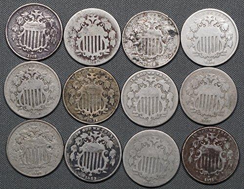 1866-83 Shield Nickel, Lot of 12 Coins, Culls