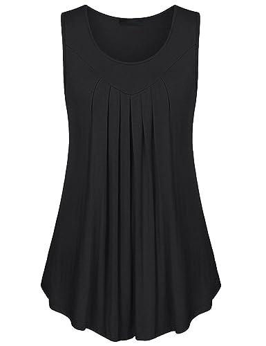 GAMISS - Camiseta sin mangas - Sin tirantes - Básico - para mujer negro L