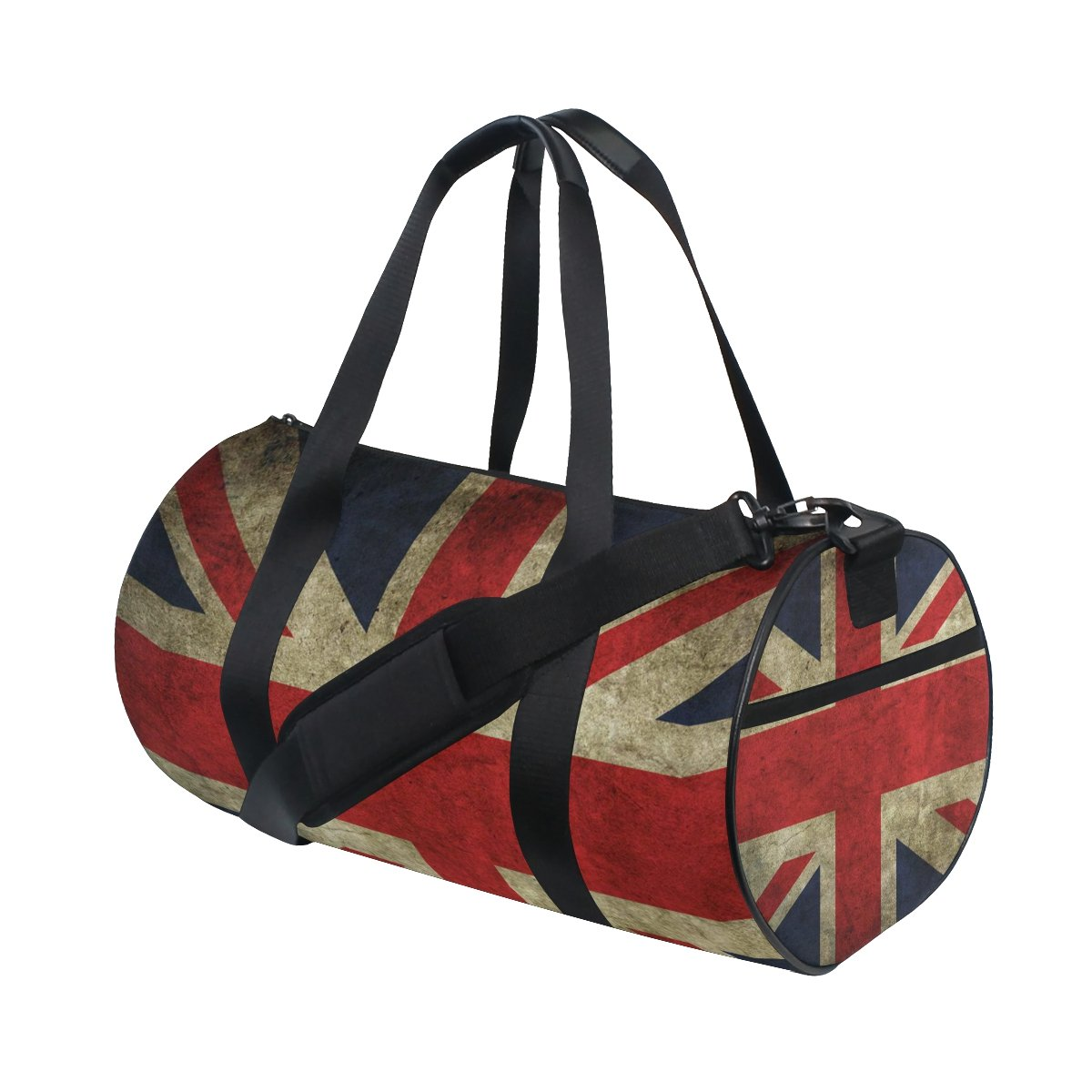 JIUMEI Britain Flag Lightweight Canvas Sports Bag Travel Duffel Yoga Gym Bags