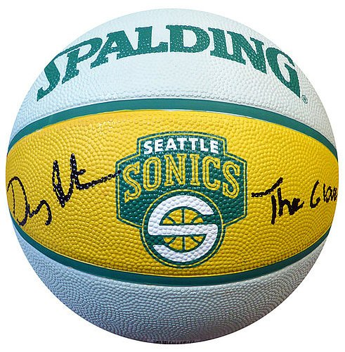 Gary Payton Signed Seattle Sonics Logo Basketball The Glove - PSA/DNA Authentication - Autographed NCAA College Basketballs - Autographed Ncaa Basketball