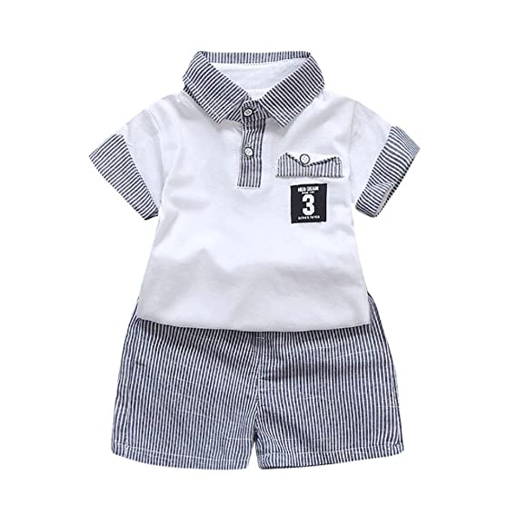 6142f32c3b00 K-youth Ropa Bebe Niños Verano, Conjunto Bebe Niño Ropa Bebe Recien Nacido  Niños Manga Corta Rayas T-Shirt Tops y Pantalones Cortos Conjunto de Ropa  ...