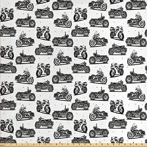 Ambesonne Motorcycle Fabric by The Yard, Motorcycle Drawings of Old-Fashioned and Modern on White Background, Decorative Fabric for Upholstery and Home Accents, 1 Yard, Charcoal Grey White ()
