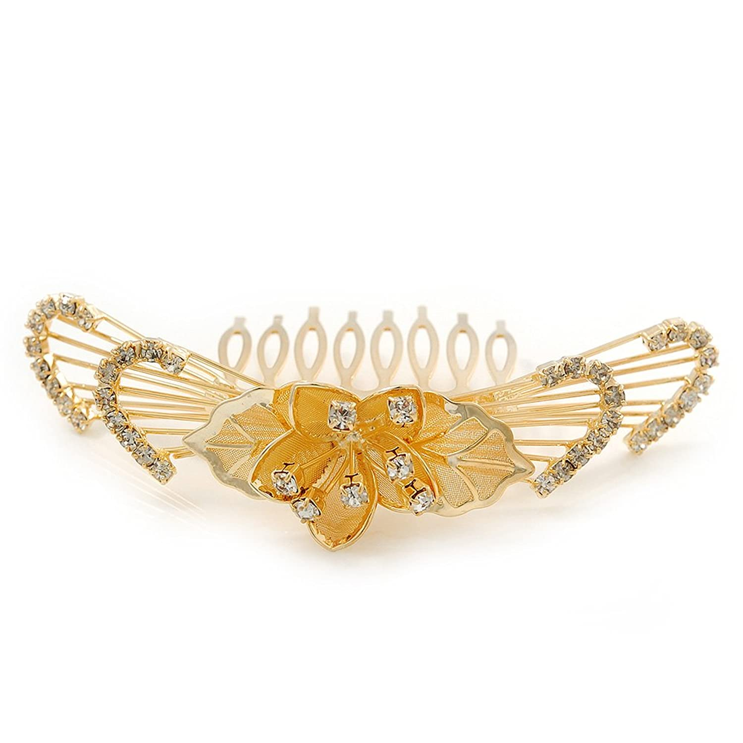 'Calla Lilly' Bridal/ Wedding/ Prom/ Party Gold Plated Clear Swarovski Crystal Floral Hair Comb - 100mm