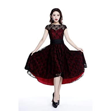 b8212ad2075 Chic Star Red and Black Cotton Lace Dress Standard to Plus Sizes UK Sizes 8