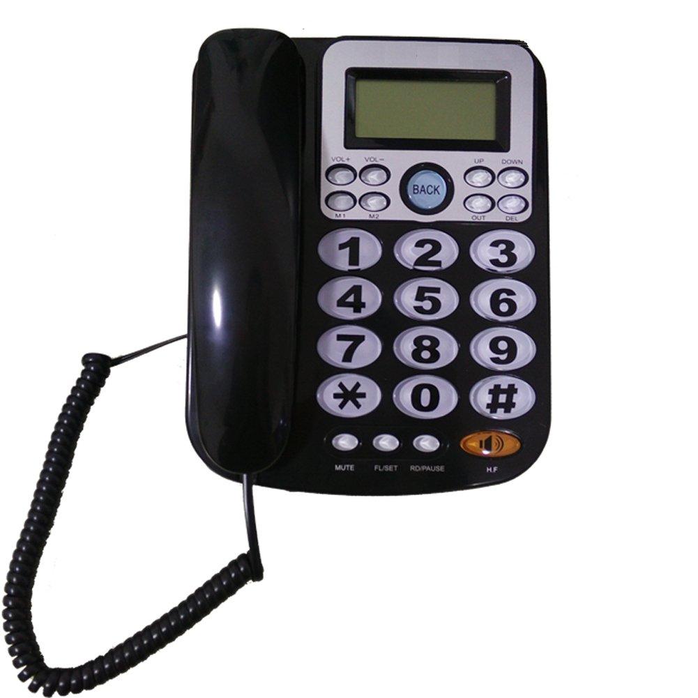 LeeKerTel Big Button Corded Phone for Elderly with Caller ID Speed Dial Alarm Function Landline Telephone for Seniors(P034Black)