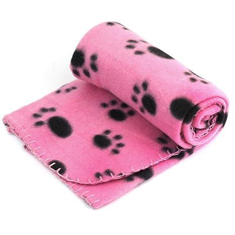 Lyanther - Manta Suave para Perro, Gato, Cachorro, Gato, Cachorro, Perro, cálida, cojín con Estampado de Huellas (Rosa)