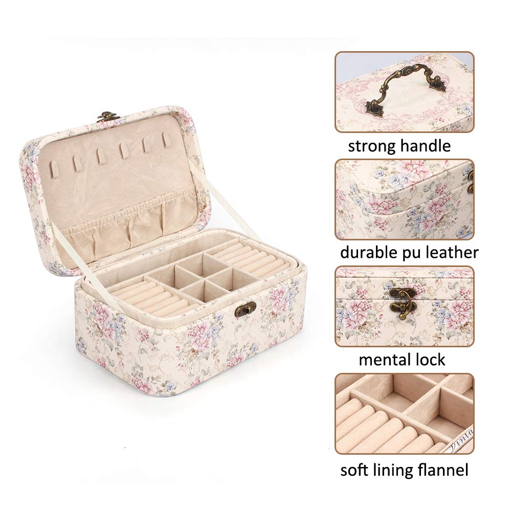 Bracelets Rings Brooches Jewellery Case with 2 Layers Portable Jewellery Display Storage Organizer for Earrings Outry Jewellery Box Necklaces