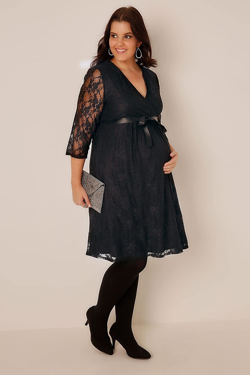 Plus Size Womens Bump It Up Maternity Lace Wrap Dress With Ribbon Tie