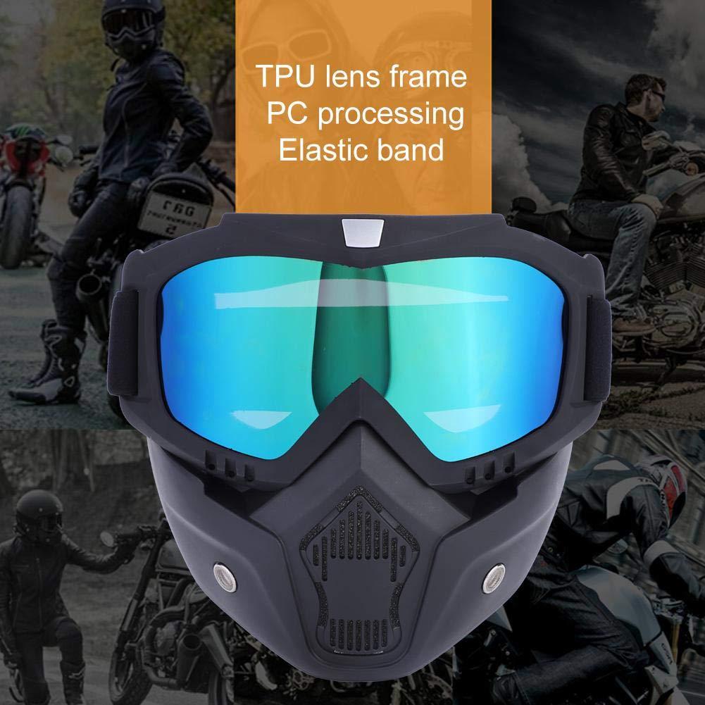 per motocross filtro bocca regolabile sci argento sport allaperto equitazione cinghia antiscivolo Moto Maschera Casco da moto maschera rimovibile caldo antinebbia occhialini