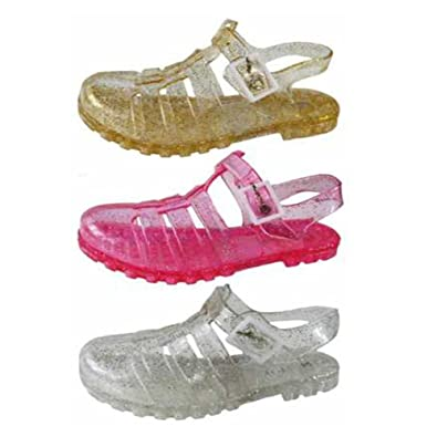 03b53b4d433 FootprintsPadstow Childrens Kids Girls Glitter Jelly Sandals Pink Gold Clear  - Gir-GLI-san  Amazon.co.uk  Shoes   Bags