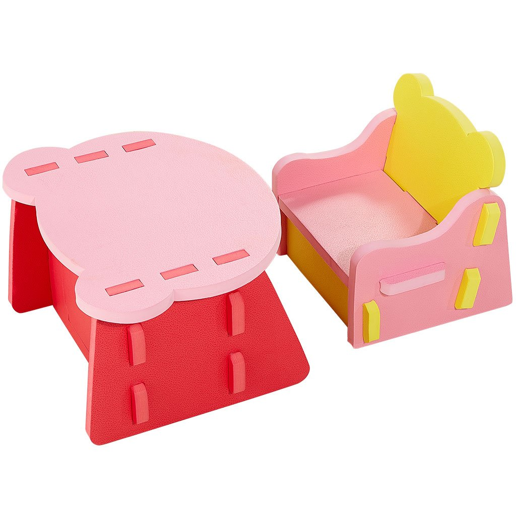 Zoeshare Toddler Table and Chair Set with Storage Made of Non-Toxic Soft Foam, Children Desk and Chair Multi-Functional Furniture Interlocking Kids Play Sets