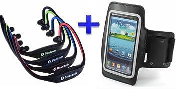 Auricular inalámbrico Bluetooth deportivos (Color NEGRO) + Brazalete Neopreno Deportivo (NEGRO) para