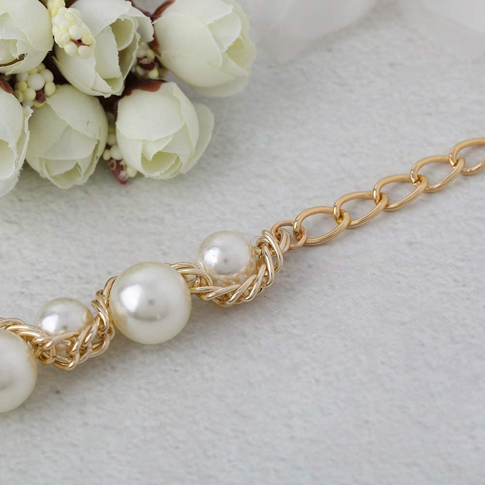 Campsis Womens Elegant Bead Alloy Chain Bridal Wedding Belts for Bridal Gowns and Bridesmaid Waistband for Evening Party and Wedding