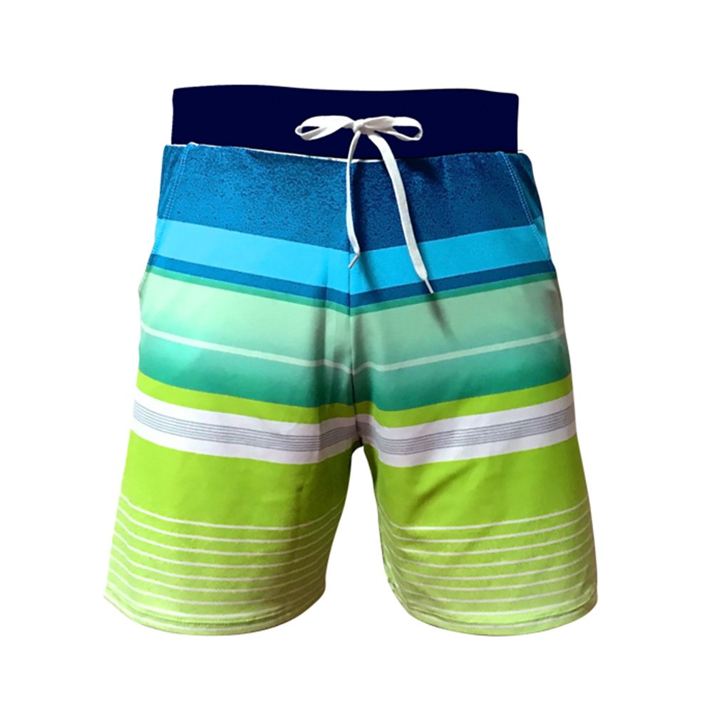 Coolloog Men's Quick Dry Stripe Swim Trunks Soft Beach Shorts Casual Swim Short