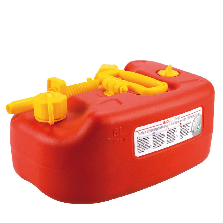 SOS Fuel – 6LT tanica Emergenza Benzina idrocarburi da 6 Litri impilabile e Omologata Un con Maniglia roteabile e prolunga a Soffietto, plastica, Rosso Nuova C.Plastica S.r.l.