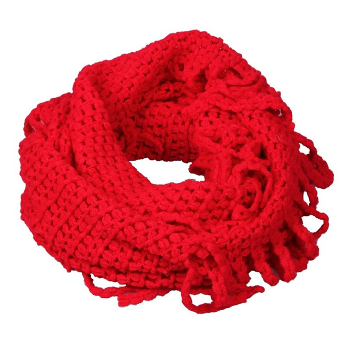 Red Loop Niblet Scarf Knitted Circle Neck Pullover T2-104.5