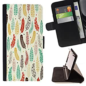 - Feather Colorful - - Monedero PU titular de la tarjeta de cr?dito de cuero cubierta de la caja de la bolsa FOR Samsung Galaxy Core Prime Retro Candy