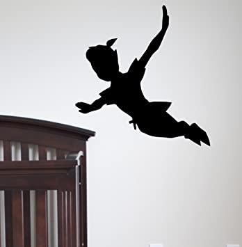 Flying Peter Pan Shadow Wall Decal Vinyl Sticker Peter Pan Silhouette  Fantasy Fairytale Wall Decals Nursery