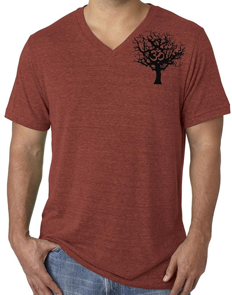 Yoga Clothing For You Mens Tree of Life V-neck Tee (shoulder print) C3415-TREE-SP