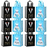 Avery Barn 12 Pc Wedding Favor Bag Set w/6 Bridesmaid & 6 Groomsmen | Reusable Tote for Bachelorette Gifts & Bachelor Party Bags Bridal Shower Thank You | Black/Blue Colors - Tuxedo & Dress