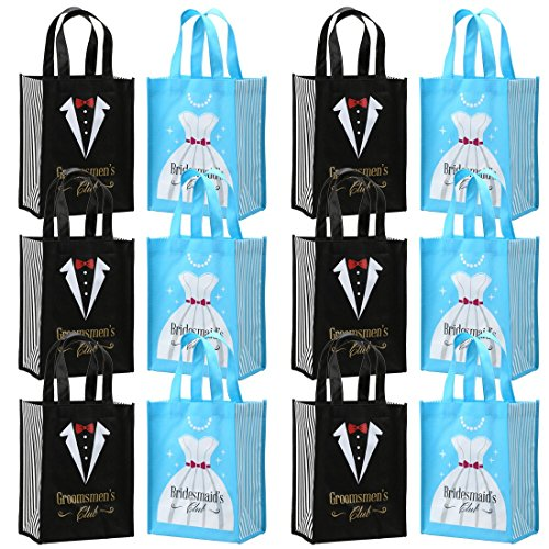 Avery Barn 12pc Tuxedo & Dress Design Wedding Party Favor Gift Bag Set