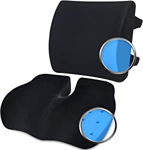 Wishcush Memory Foam Seat Cushion and Lumbar Support for Office Chair, Desk Chair Cushions Ergonomically Designed for Coccyx, Tailbone, Butt and Lower Back
