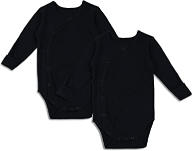 2 Pack Baby Boy Girl Side Snap Bodysuit Black Unisex Infant Kimono Onsies with Mitten-Cuff