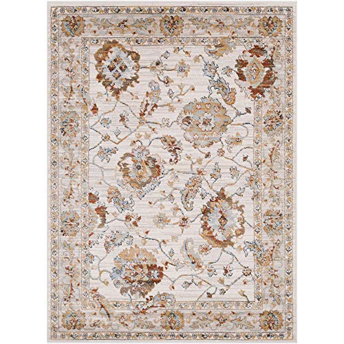 (Tiwari Home 5.25' x 7.25' Currant Red and White Traditional Style Rectangular Area Throw Rug )
