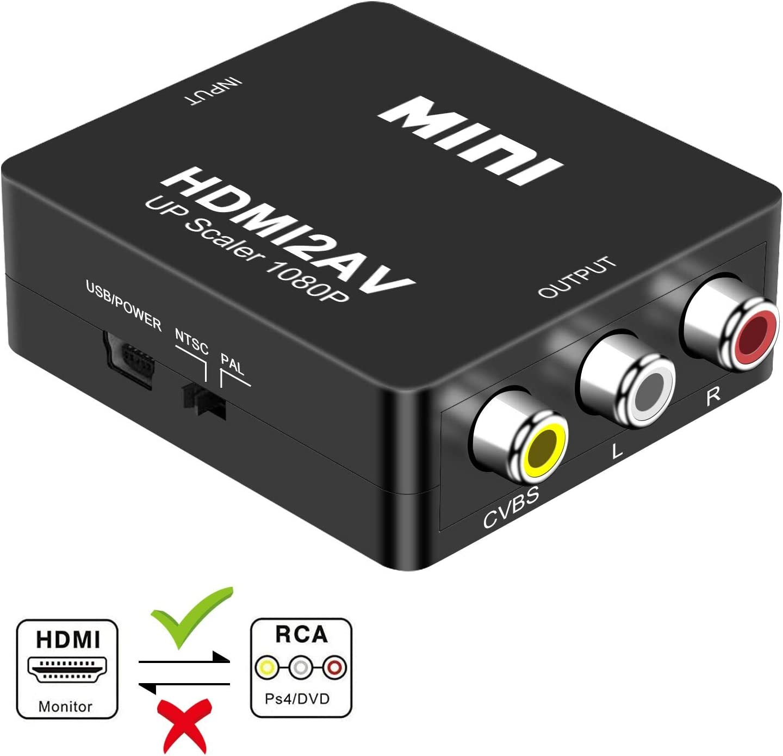 DIGITNOW! HDMI a AV 3 RCA CVBS Compuesto Adaptador Convertidor Conversor de Video y Audio de señal Mini 1080P Compatible con Cable de Carga USB para PC/Laptop/Xbox / PS4 / PS3 / TV/ VCR Cámara DVD