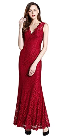 TOPJIN Womens V Neck Slim Fit Lace Mermaid Prom Party Evening Dresses Ball Gowns Dark Red