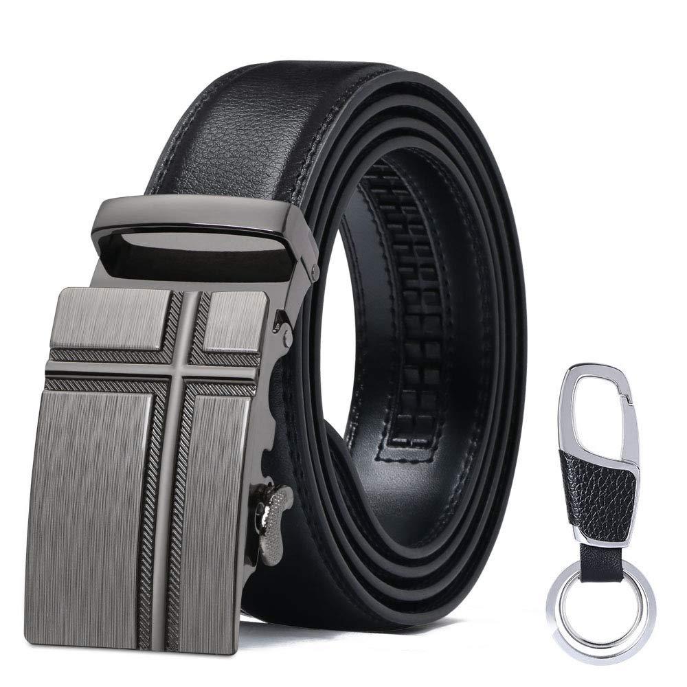 5b473cbdd flintronic ® Cinturón Cuero Hombre, Cinturones Piel con Hebilla Automática,  Sencillo y Clásico Perfecto