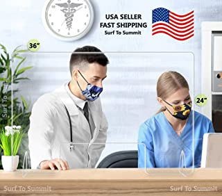 "product image for Sneeze Guard Barrier with Cut Out 3/16"" Acrylic for Retail Counter, Dentist Office, Medical Office, Reception Desk, Nail Salon, Hotel Reception, Many Sizes, Made in USA (30"" W X 30"" H)"