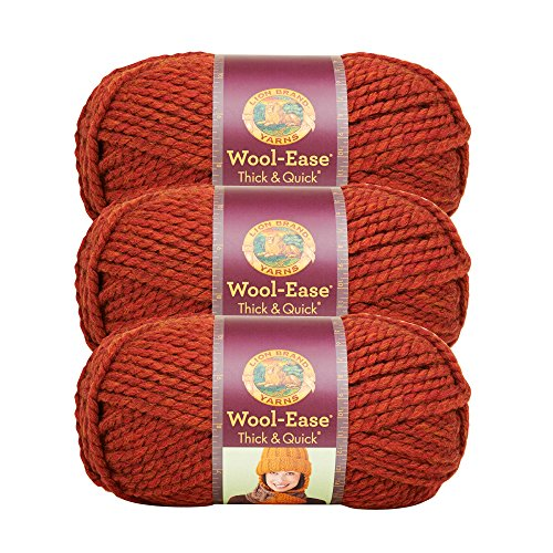 (3 Pack) Lion Brand Yarn 640-135 Wool-Ease Thick and Quick Yarn, 97 Meters, -
