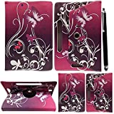 10inch Tablet Case Cover - Universal Leather Stand Case Folio Cover Magic Leather 360° Rotating Case Fits to ALL 10' & 10.1' Inch Tablets + Stylus Pen (BUTTERFLY PURPLE)