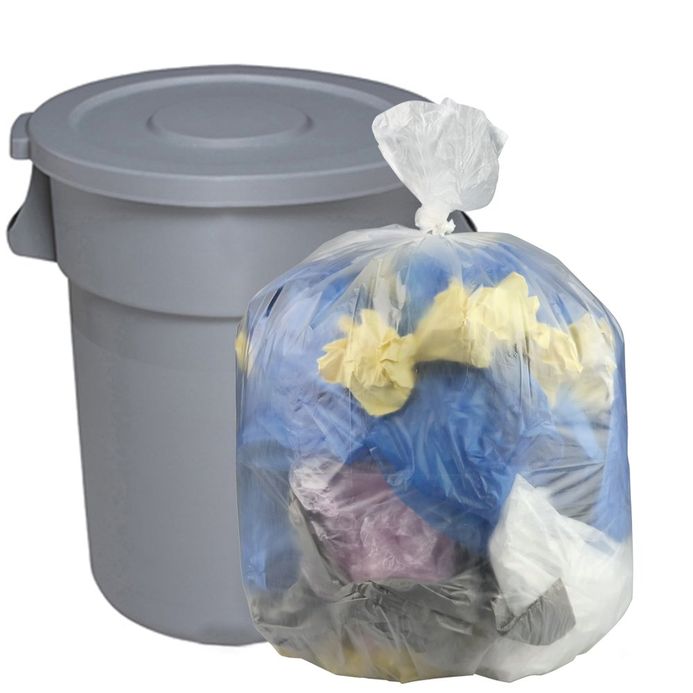 Cand 55 Gallon Clear Lawn and Leaf Garbage Bags, 70 Counts