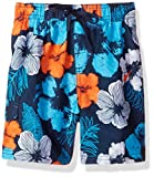 Kanu Surf Little Boys' Hangout Floral Quick Dry Beach Board Shorts Swim Trunk, Navy/Orange, Medium (5/6)