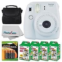 Fujifilm instax mini 9 Instant Film Camera (Smokey White) + Fujifilm Instax Mini Twin Pack Instant Film (80 disparos) + Estuche para cámara + Baterías AA + Paquete de accesorios