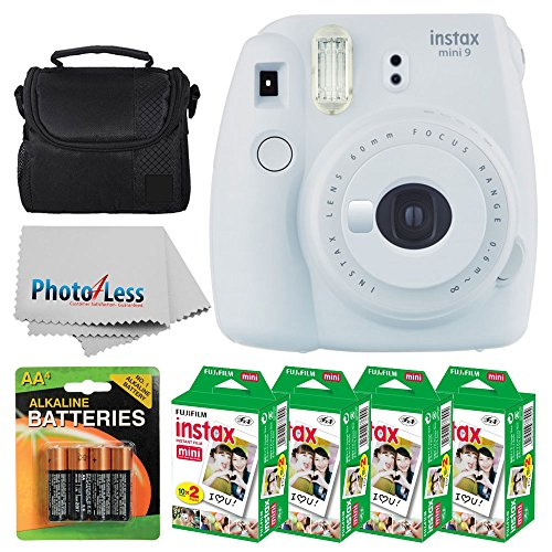 Fujifilm instax mini 9 Instant Film Camera (Smokey White) + Fujifilm Instax Mini Twin Pack Instant Film (80 Shots) + Camera Case + AA Batteries + Accessory Bundle - International Version (No Warranty) by PHOTO4LESS