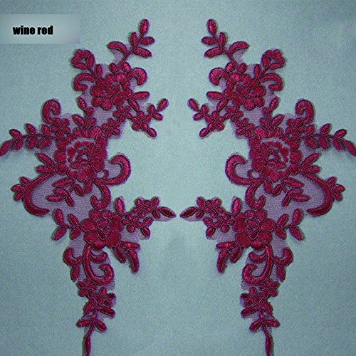 2 Pcs Wine Red Flower Lace Patches for Wedding Dress DIY Clothing Flower Applique Collar Material