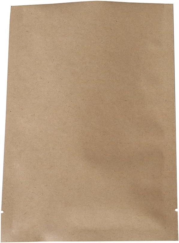 QQ Studio Open Top Kraft Mylar Heat Sealable Bags (100 Pack) (Brown Open Top, 2.4