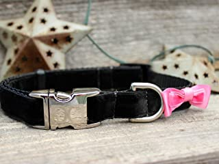product image for Diva Dog UBS50 Bowtie Pink Velvet Dog Collar - Extra Small & Small Sized