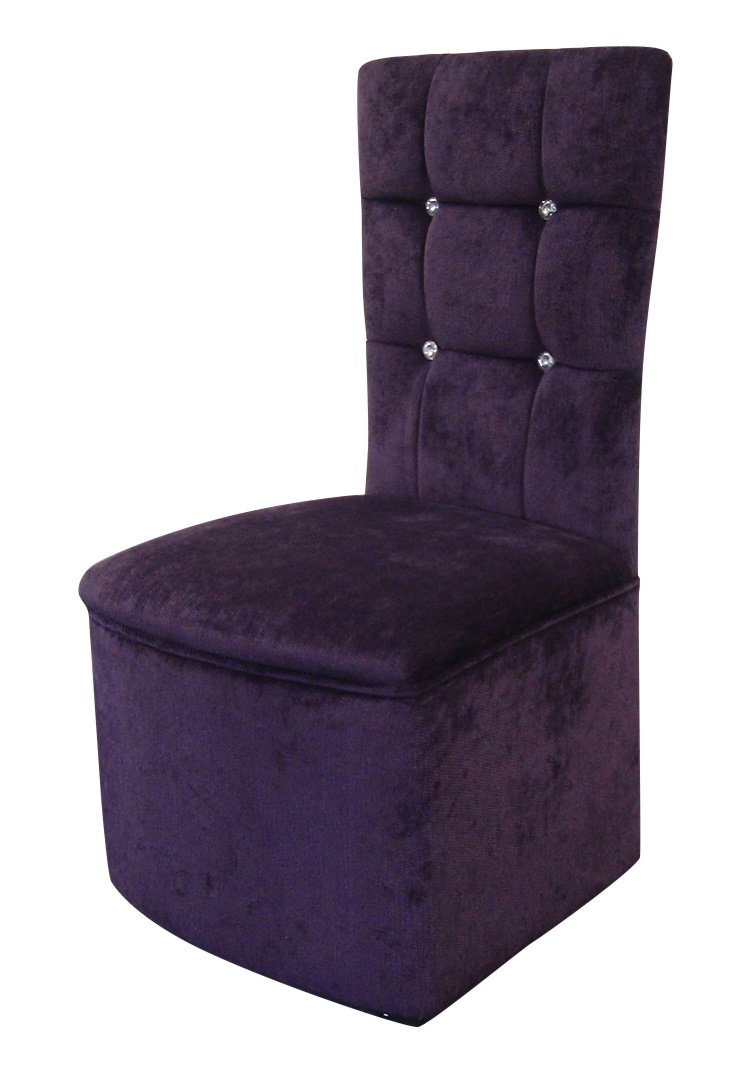 Bedroom Chair in Luxurious Purple Soft Chenille Fabric with Diamante  Crystal Buttons. Bedroom Chair Ottoman Set in Luxurious Beige Soft Chenille Fabric