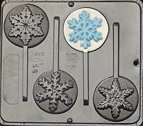 Snowflake Lollipop Plastic Chocolate Candy Mold 2058 Christmas