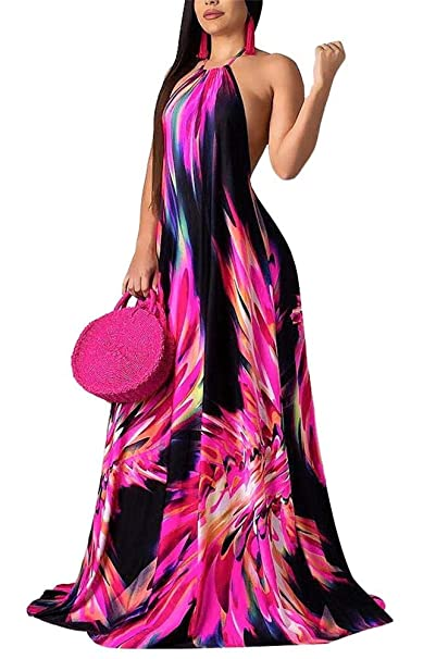 LKOUS Women s Summer Sexy Halter Floral Print Backless Sleeveless Beach  Party Long Maxi Dress Purple 14271a7dab38