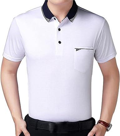 ZKOOO Hombre Camisetas Polos con Bolsillos Verano Algodón Polo ...